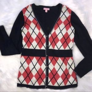 Lilly PULITZER navy cardigan sweater argyle red M
